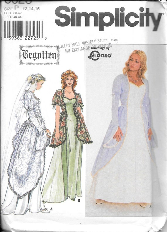 Simplicity 60 Ladies Begotten Wedding Medieval Dress Gown Etsy Classy Medieval Dress Pattern