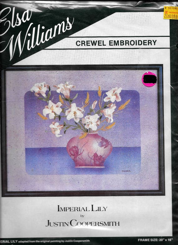 Elsa Williams Imperial Lily Crewel Embroidery Kit 20x16 By