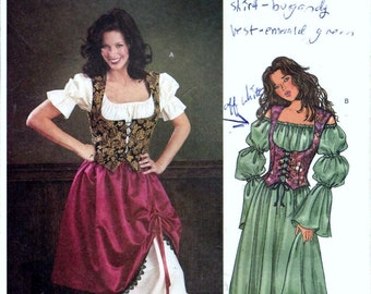 Butterick 3906 Renaissance Wench Medieval Maiden Tavern Costume Sewing Pattern Steampunk Size 12, 14, 16