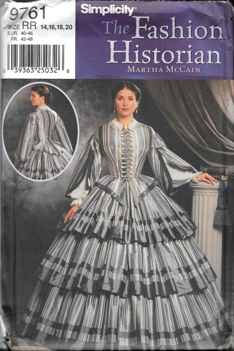 Simplicity 9761 Dress Pattern Southern Belle Civil War Reenactment Ball  Gown 14, 16, 18 and 20 Martha McCain Gone With The Wind