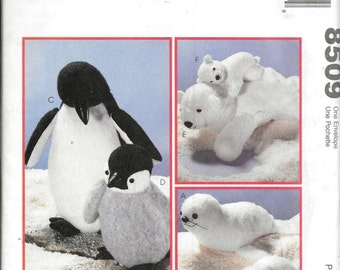 Vintage McCall's Crafts 8509 Mother Baby Seal Penguin Polar Bear Stuffed Animal Toy Plush Sewing Pattern UNCUT