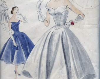 Vintage 1950s Vogue S4300 SPECIAL DESIGN Evening Dress Strapless Formal Gown Sewing Pattern Size 14 Bust 32