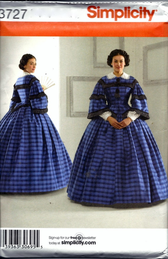 Simplicity 3727 Civil War Dress Costume Sewing Pattern Historical Ball Gown  Southern Belle Plus Size 16, 18, 20, 22 and 24 UNCUT