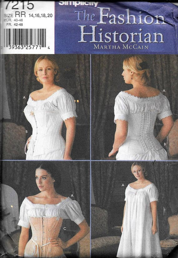 Simplicity 2890 Civil War Undergarments Corset Chemise Sewing Pattern 16-24