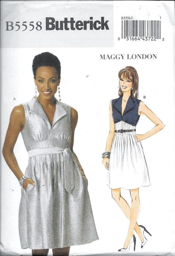 Butterick B5558 Maggy London Womens Pintuck Waist Dress Sewing Etsy