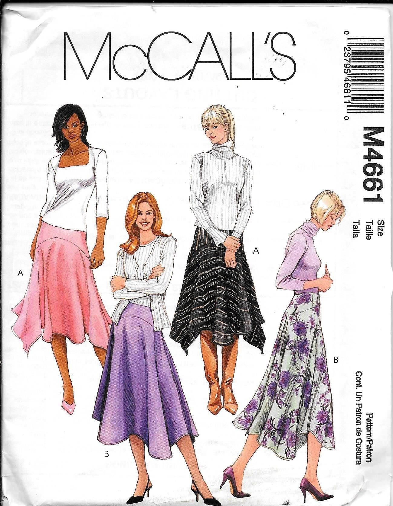 Vintage McCalls M4661 Misses Flared Skirts Uneven Bottom | Etsy