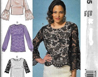 McCall's M7285 Misses Pullover Top Evening Lace Scoop Neck Sewing Pattern 7285 UNCUT Size 6, 8, 10, 12, 14
