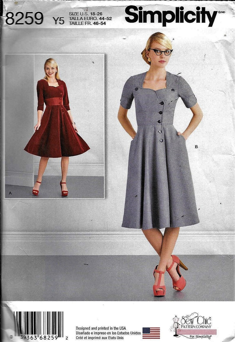 Simplicity 8259 Retro Vintage Style Dress Day Or Evening Sewing Pattern  UNCUT Plus Size 18, 20, 22, 24, 26