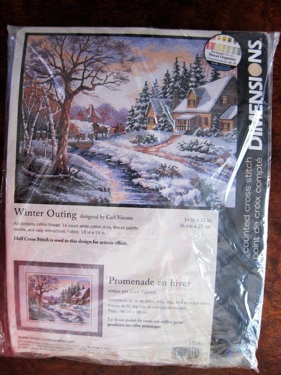 Dimensions Winter Outing Counted Cross Stitch Kit NEW 13691 Carl Valente