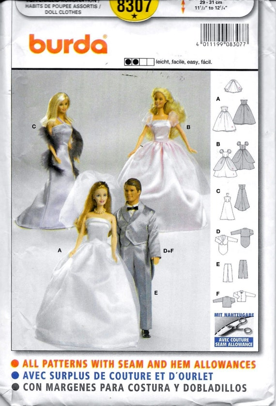 Burda 8307-Barbie & Ken Puppe Schnittmuster | Etsy