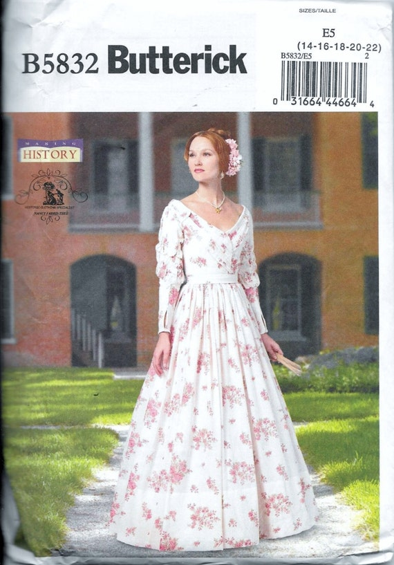 Butterick B5832 Victorian Dress Historical Southern Belle Gown Costume  Sewing Pattern Plus Size 14, 16, 18, 20 and 22