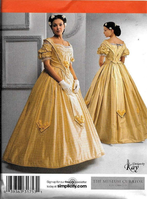 Simplicity 2881 Civil War Dress UNCUT Costume Sewing Pattern Plus Size 16,  18, 20, 22, 24 Southern Belle