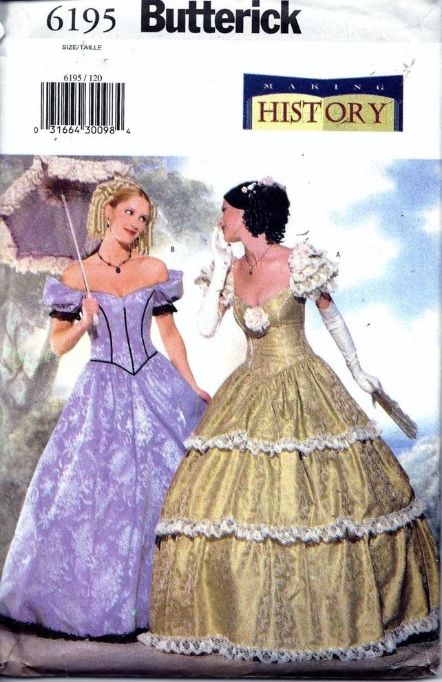 Butterick 6195 Civil War Southern Belle Ball Gown Dress | Etsy