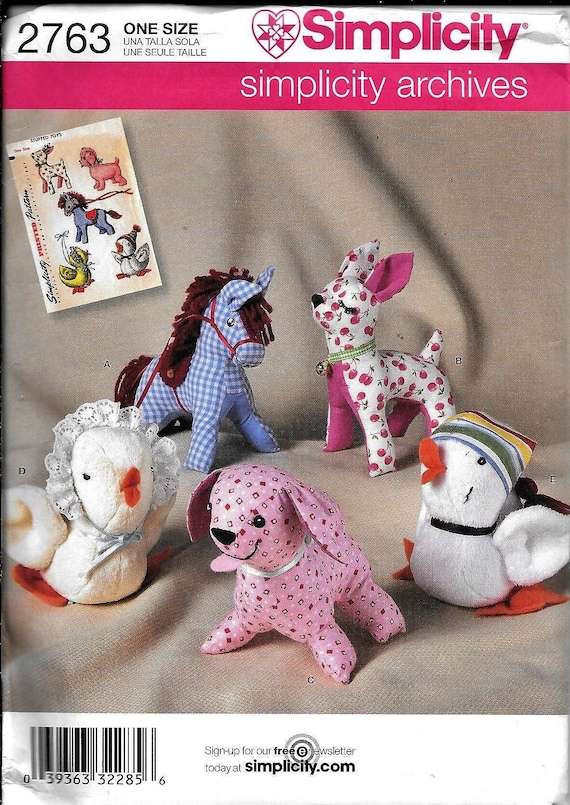 Simplicity Sewing Pattern 2763 Stuffed Animals Horse Deer Etsy