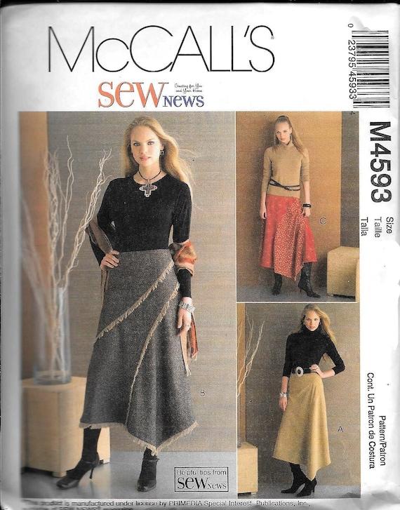 McCall M4593 Nähen News Misses Röcke asymmetrischer Saum ausgestellt Schnittmuster 4593 ungeschnitten Größe 12, 14, 16, 18