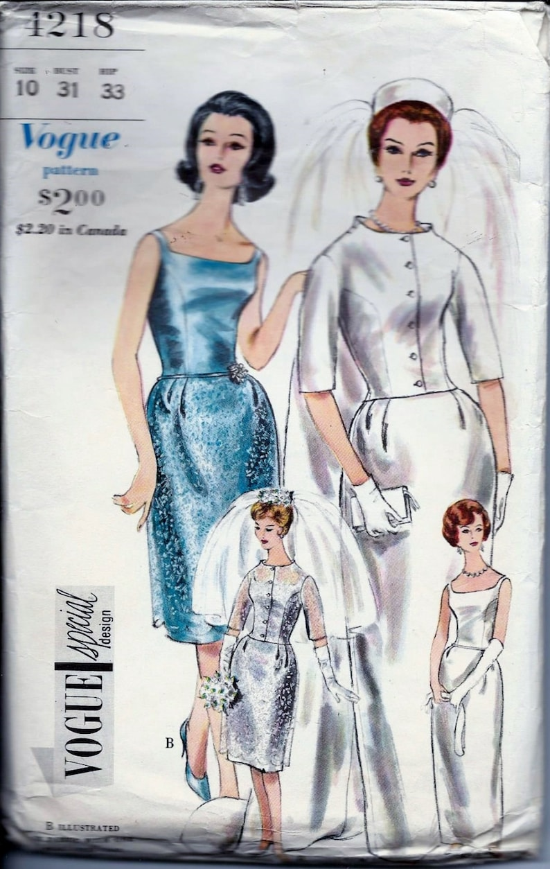 1960s 1950s Vintage VOGUE Special Design Wedding Dress Train image 0