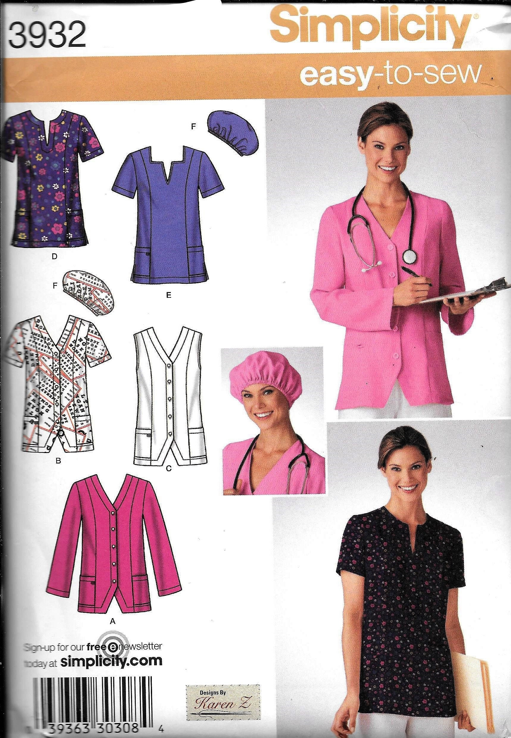 Simplicity 3932 Easy To Sew Scrubs Uniform Top Pants  fe0766e3eac