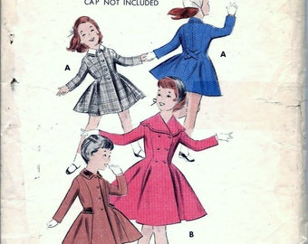 Vintage 1940s, 1950s Butterick 7911 Girls Princess COAT Sewing Pattern Size 4 Breast 23 Fitted Double Single Breasted
