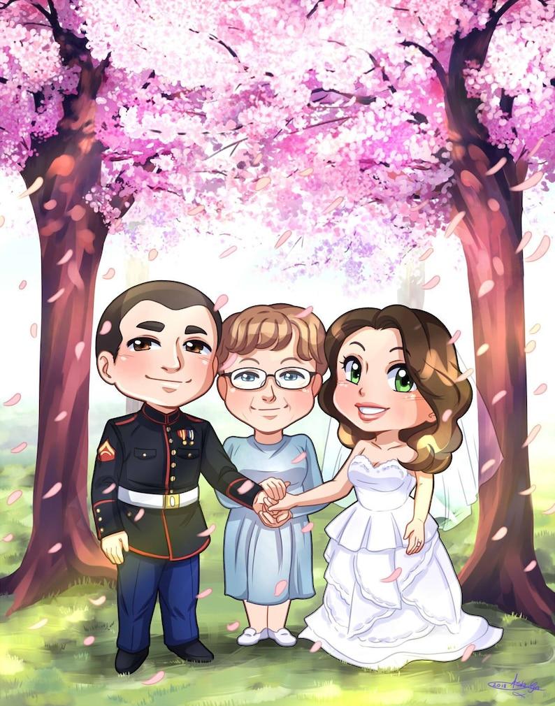 e5ee9dea7a0a PERSONALIZZATO Chibi coppia con dettagliate sfondo matrimonio