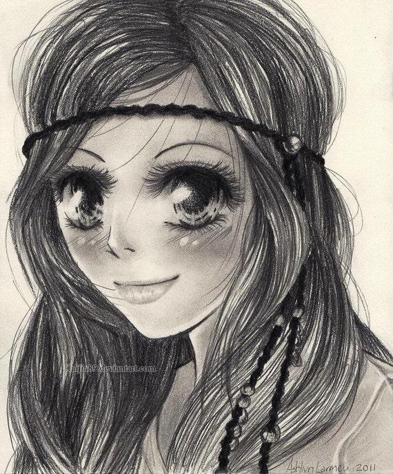 CUSTOM Anime Pencil Drawing Customized Art Portrait