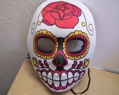 Day of the Dead Sugar Skull Neoprene Halloween Mask - Large Red Rose - Dia de los Muertos