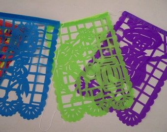 "Medium Day of the Dead VERTICAL Papel Picado, 10 Banners, 14"" by 9"" Each Banner"