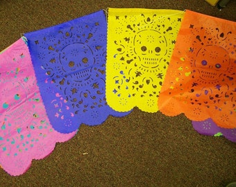 "Day of the Dead XL Skull Face Papel Picado, 10 Banners, 14"" by 18"" Each Banner"