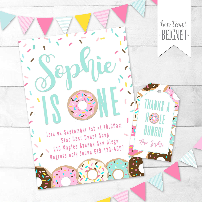 Donut Birthday Invitation Birthday Party invitation | Etsy