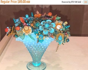 Glass Sunny Fenton Button And Bows Turquoise Rose Bowl Art Glass