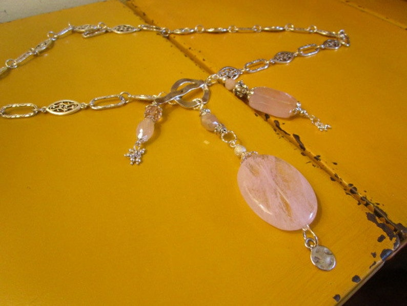Pink Divine Rose QUARTZ Marbled Large Pendant wLarge Pink CHALCEDONY /& STERLING Silver Charms on Ornate Silver Plate Link Chain