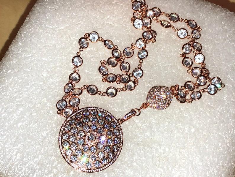 Spectacular ROSE GOLD Micro Pave Domed Pendant /& Large Cz Bead on Long Rose Gold Micro Pave Rosary Chain Sautoir wAB Bezel Set Cz Rounds