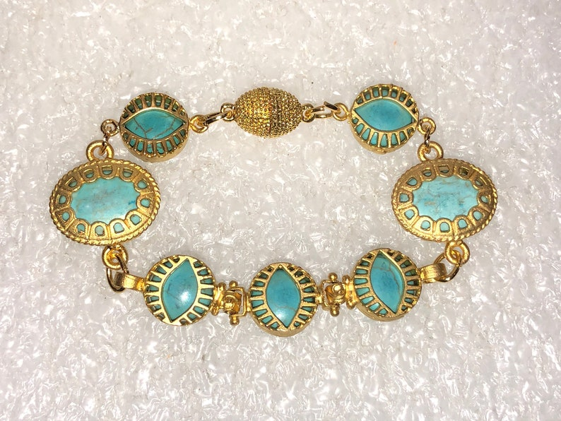 Enticing Genuine TURQUOISE /& 24K Gold Plate 7-Link Oriental FRETWORK Bracelet w5 Lucky Evil Eye Links Textured Gold Magnetic Clasp