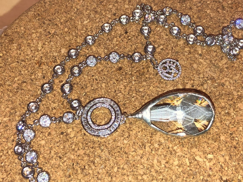 Faceted CRYSTAL Quartz PEACE SIGN Rhinestone Pendant Bezel-Set on Crystal Silver Rhodium Rosary Chain wCharm /& Pave Round Hand Soldered