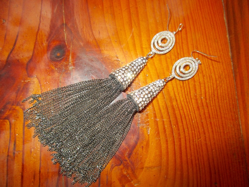 Opulent 4 34 Long Hematite TASSEL Pierced Earrings Circle of Life 3-Ring Domed SILVER Micro Pave FociSILVER Pave Encrusted Tassel Cap