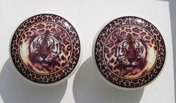 2 Tigre Leopard Imprime Jungle Safari Commode Bouton De Tiroir Etsy