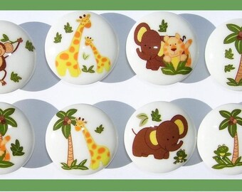 8 set CUTE JUNGLE ANIMALS  mtm bedding  Dresser Drawer Knobs boy girl babies