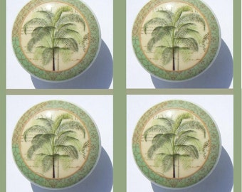 4 PALM TREE Green kitchen, living room Dresser Drawer Knobs
