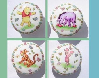 Set of 4  WINNIE The POOH and Friends  unisex childrens kids  Dresser Drawer Knobs Handmade items