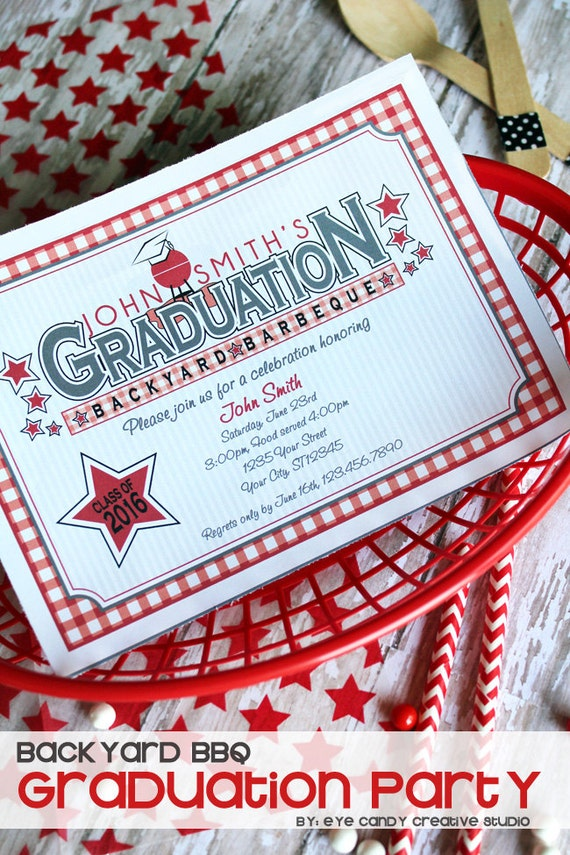 a9cbbe86e GRADUATION - Backyard BBQ - Graduation INVITE - custom School Colors  included