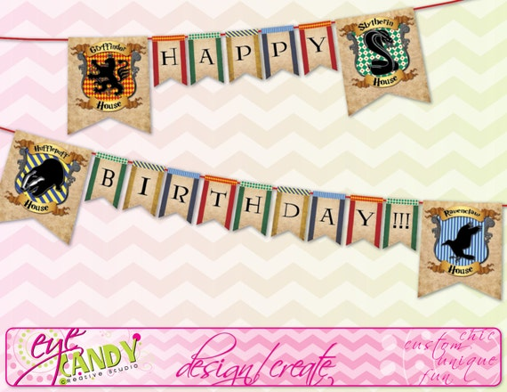 Harry Potter Inspired Hogwarts Banner Hogwarts Birthday Banner Harry Potter Birthday Banner Hogwarts Houses Banner Instant Download By Eye Candy Event Details Catch My Party