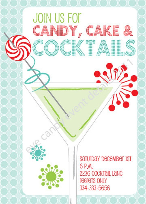 cocktail invite birthday holiday party invite diy printable