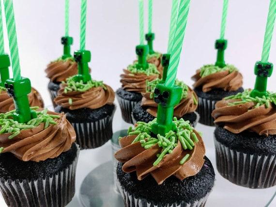 Minecraft Creeper Geburtstag Kerze Halter Set Cake Topper Etsy