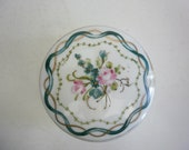 Vintage Italian Porcelain Trinket Box Hand Painted Italian Porcelain Small Box Flowers and Gold Trim
