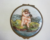 Vintage Italian Capodimonte Porcelain Trinket Box Hand Painted Italian Porcelain Small Box - cherubs Putti Trinket Hinged Box