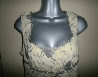 Vintage Nanette Lepore Pale Yellow and Grey Embroidery Dressy Lined Top Evening Top Formal Top
