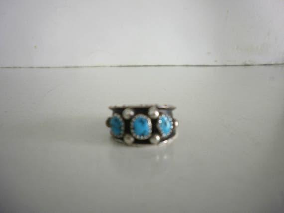 Vintage Sterling Silver Turquoise Ring Navajo Turq