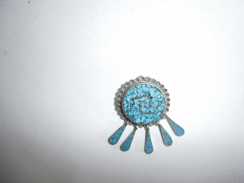 Vintage Mexican Alpaca Pin-Pendant Inlaid Brooch with Crushed Turquoise Tribal PIn Aztec  Design Made in Mexico