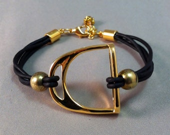Gold Plated Stirrup and Leather Bracelet, Equestrian Bracelet, Stirrup Bracelet, Equestrian Jewelry