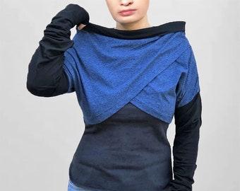 Women asymmetrical Little tops/Blue black extra Long Sleeve thumbhole Shrug Bolero/mini vests/wrap tops/handmade in France