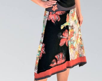 Fantasy skirt flora exotic hibiscus hand-painted in jerey cotton double flounces/handmade in France